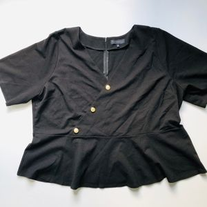 Eloquii Black Peplum Top Gold Buttons Size 2X